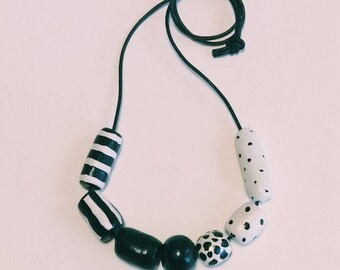 Hand painted clay bead necklace - Free Shipping in Australia