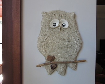 1970's Owl, Large Plaster Sand Cast Owl, Retro Wall Hanging Owl Decor, Handmade Art, Wall Sculpture,Natural Decor,Neutral Earth Tones Colors