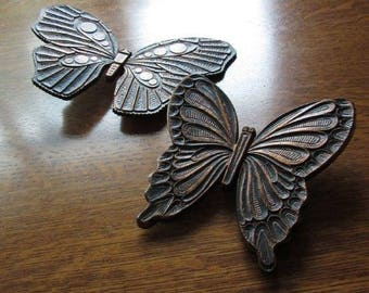 EC Vintage 1972 Copper Craft Guild Butterfly Set,Two 2,Dart,Syroco Butterflies,Adjustable,Wall Hanging Butterflies,Retro 1970's Decor,Kitsch