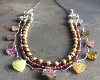 40 - Tourmaline, garnet, freshwater pearls, Swarovski and sterling silver necklace