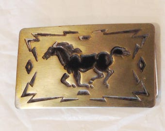 Vintage Collectible Kids Chambers Belt Co. Horse Belt Buckle