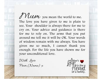 Mum Poem Ceramic Plaque - Unconditional Love. Personalised Gift. Birthday, Christmas, Mother's Day, Wedding
