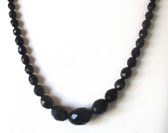 Antique Victorian  Whitby Jet Bead  Mourning Necklace