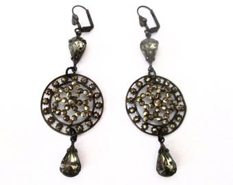 Pair of Antique Cut-Steel Brass Earrings