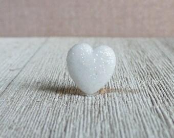 White Heart - Love - Wedding - Baby Girl - Glitter - Lapel Pin