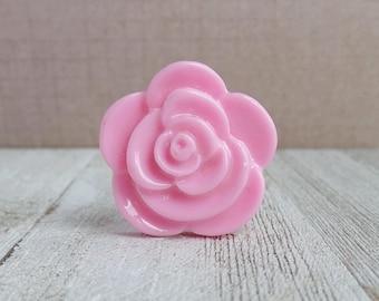 Rose - Large Pink Rose - Love - Flower - Wedding - Sweetheart - Lapel Pin