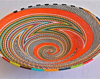 African Telephone Wire Bowl - ORANGE - Multicolor swirl