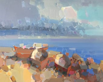 Boats on the Shore, Original oil Painting, One of a Kind