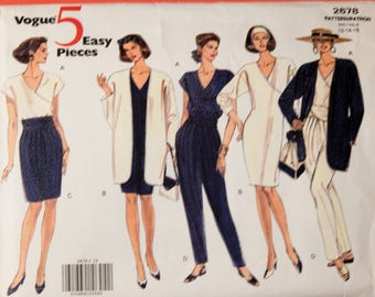 Vogue 2678 Five Easy Pieces jacket, dress, top, skirt and pants pattern with great detailing Uncut Sizes 12, 14 and 16