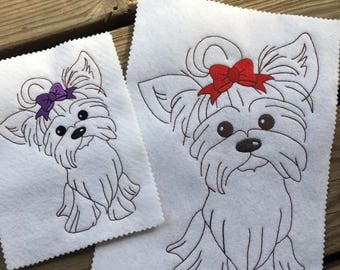Girl Yorkie - Dog - Sketch - Redwork style  - 4 Sizes Included - DIGITAL Embroidery DESIGN
