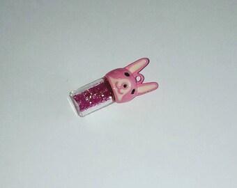 X 1 glass Bunny head jar pink 30mm