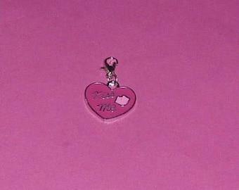 """Charms 1 """"heart pink KISS ME"""" enamel"""