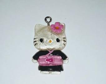 X 1 cat kawaii kimono black/pink