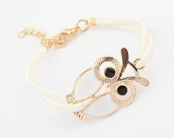 OWL connector and white suede bracelet
