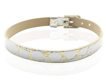 White Crackle type 22cm leather bracelet