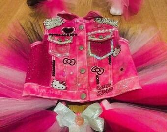 Custom Hello Kitty Outfit,  Hello Kitty Tutu Outfit, Hello Kitty Tutu, Tutu Socks, birthday tutu, Hello Kitty Birthday Tutu, pink tutu skirt