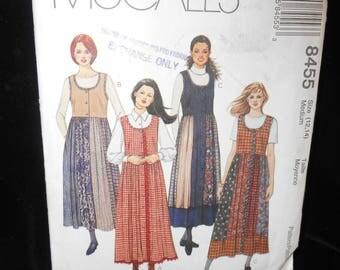 Misses Jumper McCalls 8455 Sizes Medium 12 14 Womens Jumper Front Button Gored Skirt