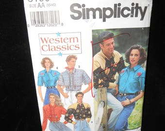 Mens Teen Boys Western Shirt Simplicity 8190 Misses Womens Sizes Extra Small Small Medium Western Shirt
