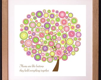 Personalised Mums are Like Buttons Word Art Gift
