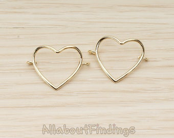 CNT141-G // Glossy Gold Plated Simple Heart Link Double Side Loops Connector, 2 Pc