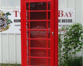 Red British London Cast ALUMINUM Iron Telephone Phone Booth Replica English
