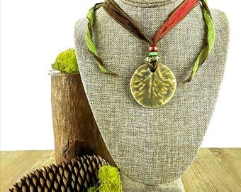Woodland Walk Ceramic Necklace: Fall Necklace/ Woodland Necklace/ Autumn Necklace/ Forest Nymph Necklace/ Handmade Necklace/ Boho