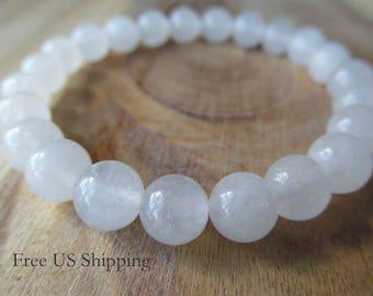 8mm Snow Quartz Bracelet, Gemstone Bracelet, Natural Stone Bracelet, Womens or Mens Bracelet, Mala Yoga Meditation, White Bracelet