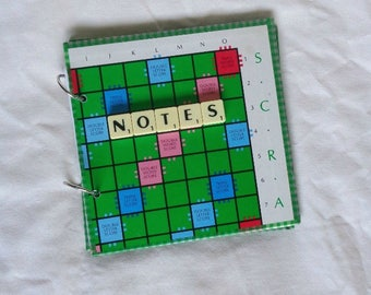 Journal made from Scrabble board, upcycled Scrabble notebook, retro board game scrapbook, ring bound sketchbook