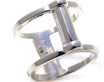 2 sided! Sterling silver Reversible Negative Space Ring