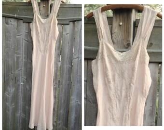 Vintage Silk Nightdress,Full Length Pale Pink/Peach Silk Bias Cut Gown with Lace Trim,Silk Chemise,Wedding Honeymoon Lingerie,Bridal Shower