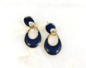 Vintage Gold Blue Enamel Drop Earrings