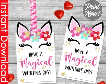 Unicorn Valentine Cards for Kids INSTANT DOWNLOAD, Unicorn Valentine Printable, Valentines Day for Girls, Kids Card Class School Classroom