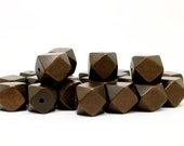 15mm Dark Brown Geometric Polygon Wood Beads - Dyed and Waxed - 15 inch strand