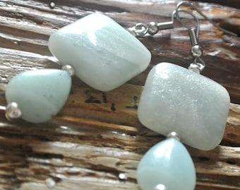 Amazonite square and teardrop earrings, large pale blue drops, summer blue earrings, hypo allergenic earrings, beach jewelry, made in Wales