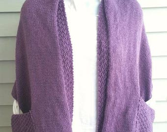 readers wrap, pocket wrap, knit wrap, knit pocket wrap, warm and cozy wrap misty purple