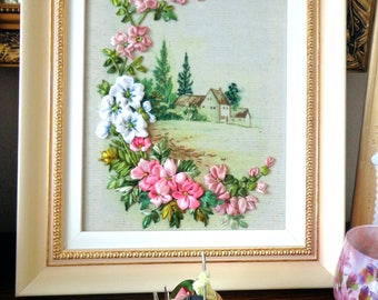 Embroidered picture , Silk ribbon embroidery, flowers, ribbonwork,  landscape