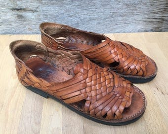 Vintage Brown Leather Huarraches Made in Mexico - US Women's Size 8.5-9 EUR 39-40