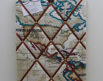 """Fabric Noticeboard 40cm x 30cm (16"""" x 12"""") in World Map/Atlas Fabric, Antique Beige Map, Boy's Noticeboard, Gift for Teenage Boy, Pin Board"""