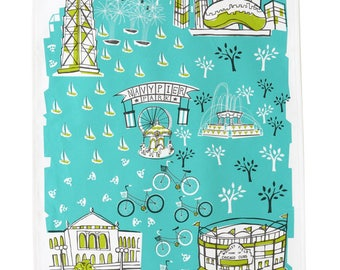 Chicago Tea Towel-Home Goods-Kitchen-Turquoise-Lime-Grey-17 x 28