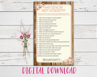 Wedding Shower Game, Bridal Shower Game, What did he say about his Bride, Wood Background, Peach Flowers, Instant Download, Couples Shower