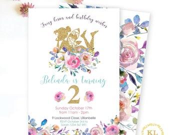Fairy party invite, Fairy invitation, girls birthday, digital invite, floral fairy invite, gold glitter, girls party, fairy birthday, fairy