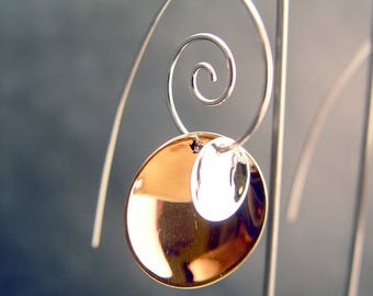 Sterling Silver and Copper Earrings Artisan Made Design 2 Disc Design Dangling From a Spiral Ear Wire