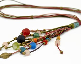 Multi strand boho leather necklace, long multicolor rustic necklace, tribal statement necklace, woman gift, vintage bronzes crystal necklace