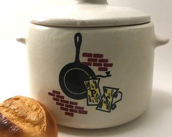 midcentury West Bend USA casserole ceramic speckled stoneware vintage kitchen graphic design