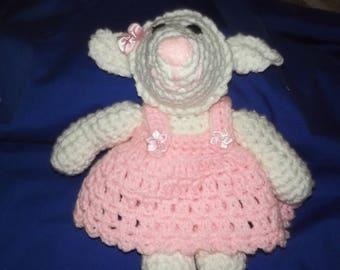 crocheted  white lamb