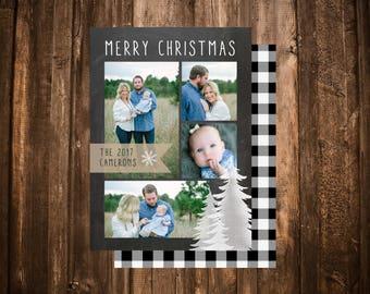 Chalkboard Holiday Photo Card; Multi Photo; Buffalo Plaid; Christmas Card; Printable or set of 10