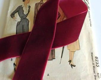 """Burgundy Velvet Ribbon for Bows, Floral, and Millinery 1.5"""" inch Dark Red Velvet Ribbon"""