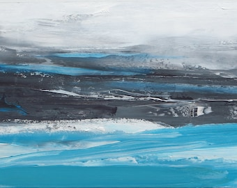 """36"""" x 18"""" ORIGINAL ABSTRACT PAINTING,expressionist Landscape, Large painting, Acrylic on canvas"""