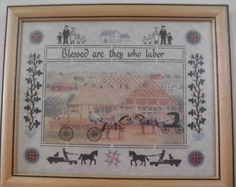 Two Vintage Amish Scissor Cutting Framed Artwork pieces, Scherenschnitte, 1991