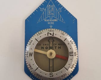 Vintage 1980's Silva Pioneer compass, Made in Sweden with blue and silver anodized aluminum.